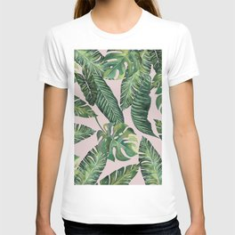Jungle Leaves, Banana, Monstera Pink #society6 T-shirt