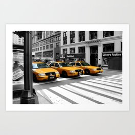 NYC - Yellow Cabs - Shops Art Print