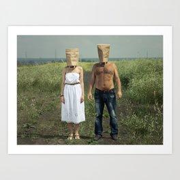 Paper bag couple Art Print