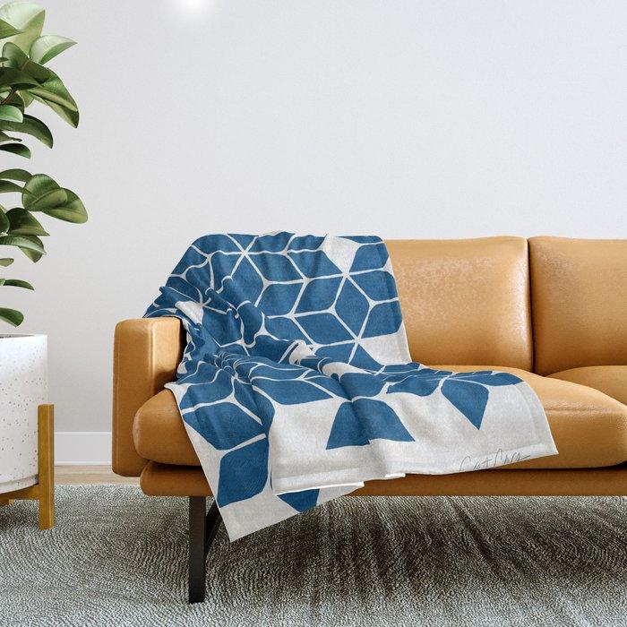 Poinsettia Stars – Classic Blue Palette Throw Blanket