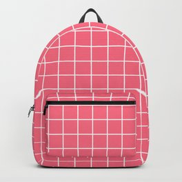 Ultra red - pink color - White Lines Grid Pattern Backpack
