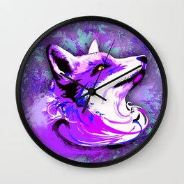 Purple Fox Spirit Wall Clock