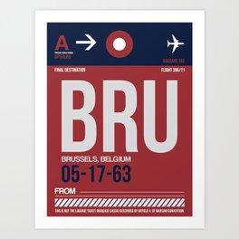 BRU Brussels Luggage Tag 2 Art Print