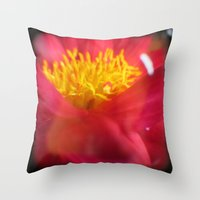 dahlia Throw Pillows featuring Dahlia by Kitsmumma