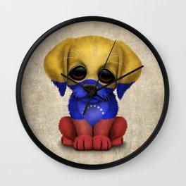 Cute Puppy Dog with flag of Venezuela Wall Clock