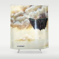 scott pilgrim Shower Curtains featuring ISLAND PILGRIM by STELZ (Vlad Shtelts)