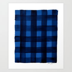 Buffalo Plaid Watercolor in Blue Art Print