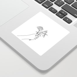 Carnation & Snowdrop Line Drawing (Birth Flower Series - January) Sticker