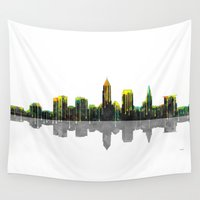 cleveland Wall Tapestries featuring Cleveland Skyline by Marlene Watson