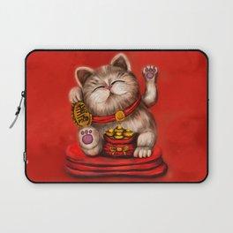 Maneki-neko Beckoning cat on red Laptop Sleeve