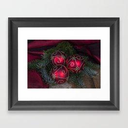 Red Christmas Balls Framed Art Print