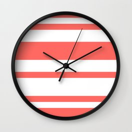 Mixed Horizontal Stripes - White and Pastel Red Wall Clock