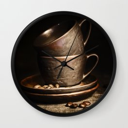coffee cups and beans on rustic table Wall Clock