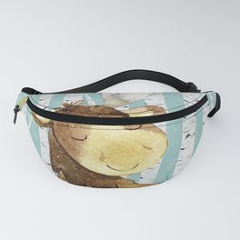 Winter Woodland Friends Deer Moose Snowy Forest Illustration Fanny Pack