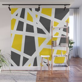 Abstract Interstate  Roadways Gray & Yellow Color Wall Mural