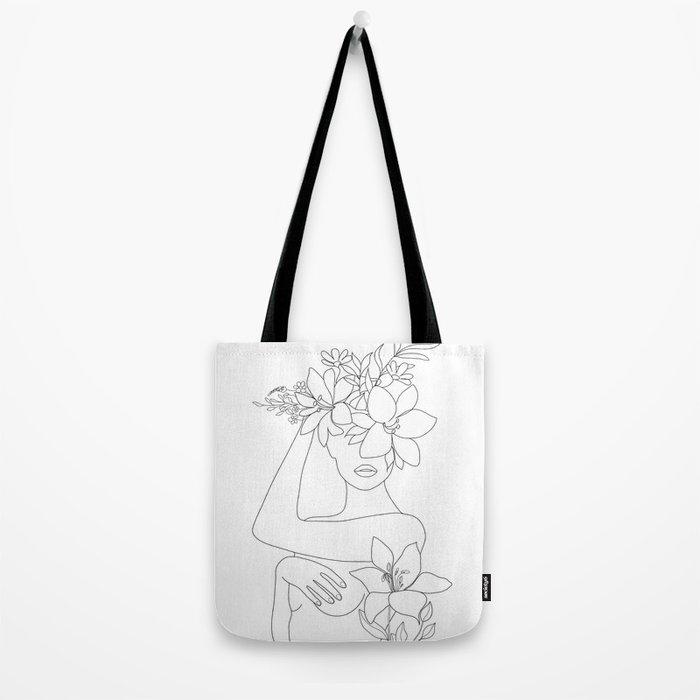 Minimal Line Art Woman with Flowers VI Tote Bag