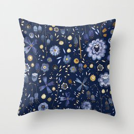 Indigo Flowers at Midnight Throw Pillow
