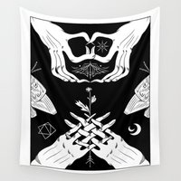 moth Wall Tapestries featuring Moth by Nick Iluzada
