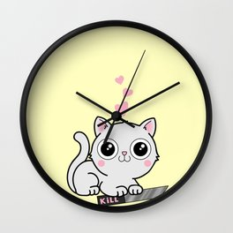 Kitty Hearts Kill - Cats Love Plotting Wall Clock