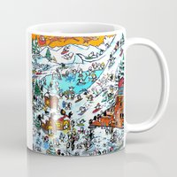 ski Mugs featuring Penguin Ski by Phil Fung