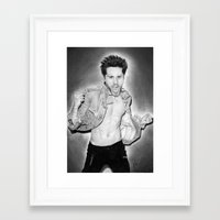 30 seconds to mars Framed Art Prints featuring Jared Leto (30 Seconds To Mars) Portrait. by Carl Merrell Art