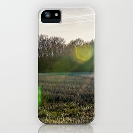 Countryside in the Ticino river natural park during winter before sunset iPhone Case