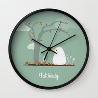 birdy Wall Clocks featuring Birdy by Jane Mathieu