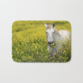 White Horse in a Yellow Pasture Bath Mat