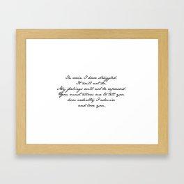 PRIDE AND PREJUDICE JANE AUSTEN MR. DARCY ENGAGEMENT SPEECH Framed Art Print