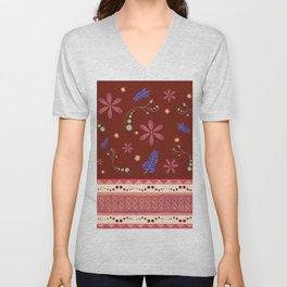Otavalo print - red Unisex V-Neck