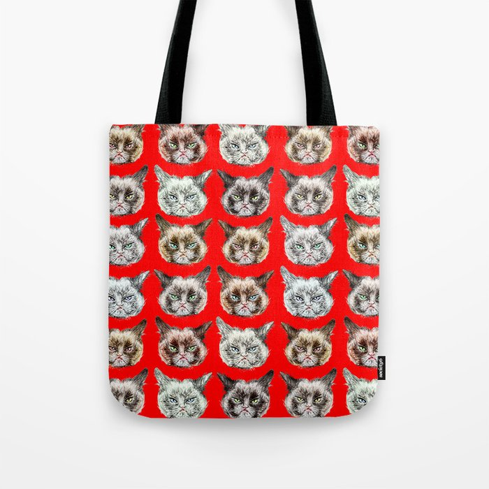 Cats Cats Cats on Red Tote Bag
