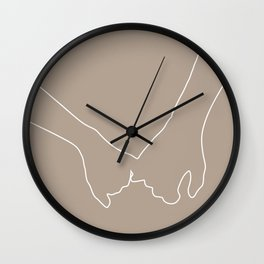 Romantic Holding Hands Simple Line Drawing Wall Clock
