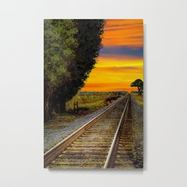 Sunset on Southern Tracks Metal Print