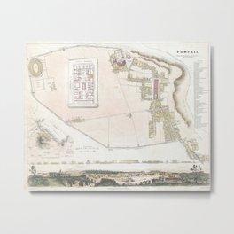 Vintage Map of Pompeii Italy (1832) Metal Print