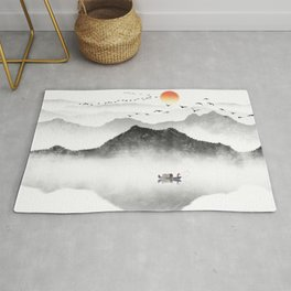 Japanese ink painting - Mountains By the Lake Rug