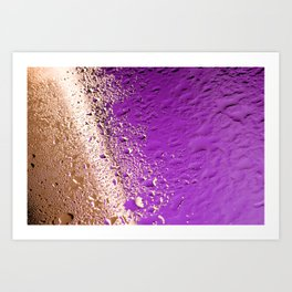 Water drops on golden and purple Art Print