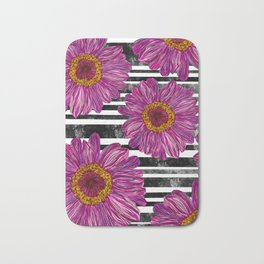 Pink Ink Flowers on Black & White Stripes Bath Mat