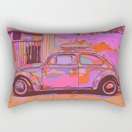 Beetle in front of a wall and garage Rectangular Pillow