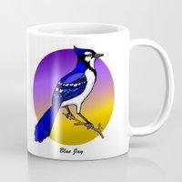 jay fleck Mugs featuring BLUE JAY by SCREAMNJIMMY