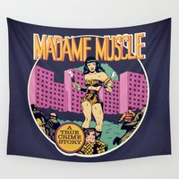 muscle Wall Tapestries featuring Herstory: Madame Muscle by Mother Goosebumps
