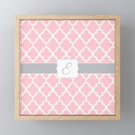 "Baby Pink Geometric Pattern with Silver ""E"" Monogram Framed Mini Art Print"