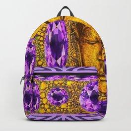 ART NOUVEAU AMETHYST PURPLE & GOLD BUDDHA ABSTRACT Backpack