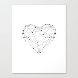 Love Heart Geometric Polygon Drawing Vector Illustration Valentines Day Gift for Girlfriend Canvas Print