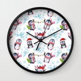 "Seamless texture Christmas ""Funny penguins"" Wall Clock"