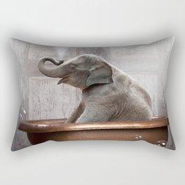 Elephant in Vintage Bathtub Rectangular Pillow