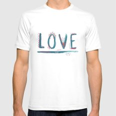 Love Love Love MEDIUM White Mens Fitted Tee
