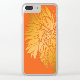 Golden Sunflower | Floral Illustration on Sunset Orange Clear iPhone Case