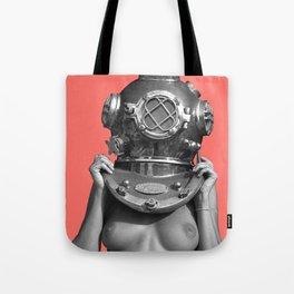Diver UP - Living Coral Tote Bag