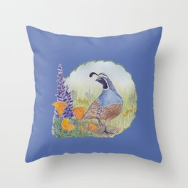 California Quail with Poppies and Lupine on Blue Throw Pillow