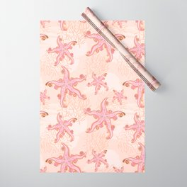 Starfish and Coral Pink Pastel Pattern Wrapping Paper